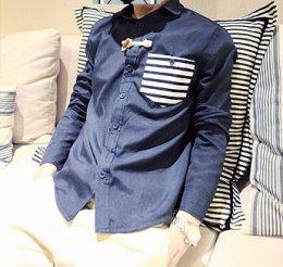 [พร้อมส่ง M,XL] [Msa-005] SHAN7++เสื้อเชิ๊ต++เสื้อเชิ๊ตผู้ชายสีน้ำเงินคอปกแขนยาวกระเป๋าหน้าเท่ห์