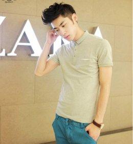 [พร้อมส่ง M] [Msa-018] SHAN7++เสื้อโปโล++เสื้อโปโลผู้ชายสีเทาคอปกแขนสั้น