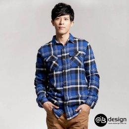 [[พร้อมส่ง XL,2XL]] [OBM-006] Orange Bear++เสื้อเชิ๊ต++เสื้อเชิ๊ตผู้ชายสีน้ำเงินลายสก๊อต