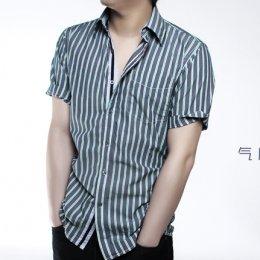 [[พร้อมส่ง P]] [TS-001] TS ++เสื้อ++ เสื้อเชิ้ตแขนสั้นลายทางสีเขียว