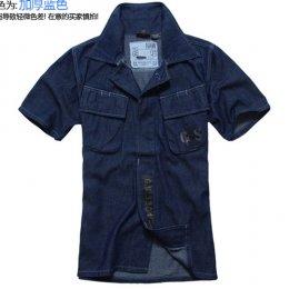 [[พร้อมส่ง M]] [TS-015] TS ++เสื้อ++ เสื้อเชิ้ตแขนสั้นผ้ายีนส์สีน้ำเงิน