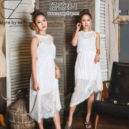 [[*พร้อมส่ง M]] [SZ-9928-1] SZ Maxi Dress แม๊กซี่เดรสสีขาวผ้าลูกไม้ญี่ปุ่นยาว พร้อมด้วยสายเดี่ยว เป็นชุด 2 ชิ้นค่ะ