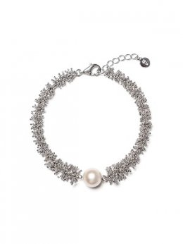 Pinecone Silver Chain Pearl Bracelet