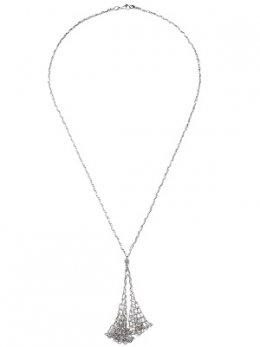 Long Silver Lace Chain Double Dangling Necklace