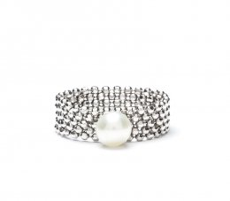 Silver Bead Simple Pearl Ring