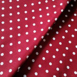 ผ้า cotton canvas ไทยลายจุดขาว 5 mm.พื้นแดง ขนาด 1/4 เมตร (50*55 ซม.)