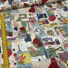 ผ้า USA cotton fabric design ขนาด 45 x 55 ซม.