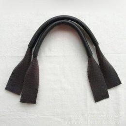 หูกระเป๋าผ้าไนลอนบุหนังแท้ด้านบน สีน้ำตาลเข้ม ขนาด 43 x 2.5 ซม. ราคาคู่ละ