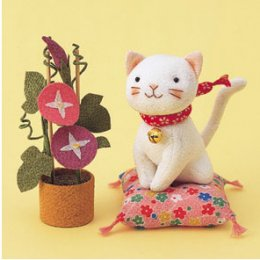 แมวชมสวน ผ้าญี่ปุ่น ขนาด 14 cm.