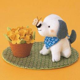 หมาน้อยกับดอกไม้ ผ้าญี่ปุ่น ขนาด 10 cm.