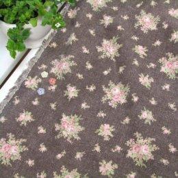 ผ้า cotton & linen ญี่ปุ่น ถุงแป้งลายดอกไม้พื้นโกโก้ ขนาด 1/9 เมตร (33*45ซม.)