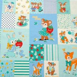 ผ้าบล๊อค cotton ของ A-TWO ลาย Gift for Baby โทนฟ้า ขนาด 60*110 ซม.