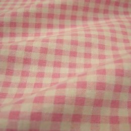 ผ้า cotton & linen ญี่ปุ่น ถุงแป้งลายสก๊อตโทนชมพู ขนาด 1/9 เมตร (33*45ซม.)