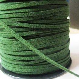 เชือกหนังกลับ เส้นแบนสีเขียว ขนาด 0.3 cm. ราคา/หลา