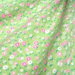 ผ้า cotton & linen ญี่ปุ่น ลายดอกเล็ก ๆ พื้นเขียว ขนาด 1/9 เมตร (33*45 ซม.)
