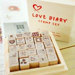 Stamp Set ชุด Love Diary ขนาดของตัวแสตมป์ 1.2*1.2*3.9 cm.รวม 25 ตัว