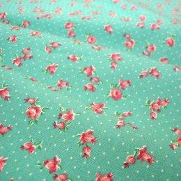 ผ้า cotton ของ A-TWO ลายดอกไม้แดงพื้นฟ้าอมเขียว ขนาด 1/8 m.(25*55 ซม.)