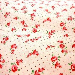 ผ้า cotton ของ A-TWO ลายดอกไม้แดงพื้นขาว ขนาด 1/8 m.(25*55 ซม.)