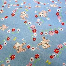 ผ้า cotton ของ A-TWO ลายกวางพื้นฟ้า ขนาด 1/8 m.(25*55 ซม.)