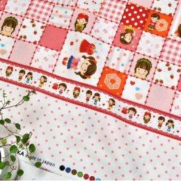 ผ้าบล๊อค Cotton ญี่ปุ่น ลาย Girl Pop Fun โทนชมพู  ขนาด 50 * 110 cm.
