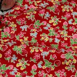ผ้า cotton ของ A-TWO ลาย Berry Candy พื้นแดง ขนาด 1/8 m.(25*55 ซม.)