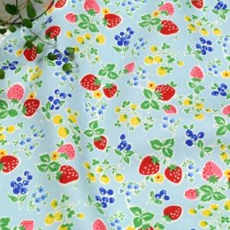 ผ้า cotton ของ A-TWO ลาย Berry Candy พื้นฟ้า ขนาด 1/8 m.(25*55 ซม.)