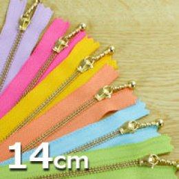 ซิปญี่ปุ่น YKK ฟันทอง ขนาด 14 cm. (เหลือสีเหลืองและสีม่วง) เส้นละ