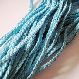 สายหนัง PU ถักเปียแบน สีฟ้า  0.5 cm.ราคาหลาละ