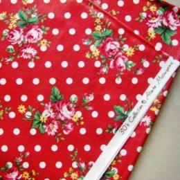 ผ้า cotton ของ A-TWO ลายจุด+ดอก พื้นแดง ขนาด 1/4 m.(50*55 ซม.)