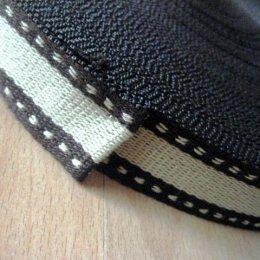 สายกระเป๋า cotton น้ำตาลขอบเส้นปะ กว้าง 3 cm. ราคาหลาละ (90 cm.)