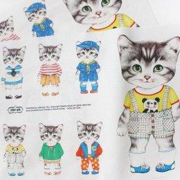 ผ้าฝ้ายผสมลินินเกาหลี น้องแมว Boy ขนาด 47 x 33 cm.