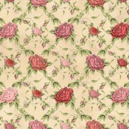 ผ้าอเมริกาลายดอก สำหรับ mat ผ้ามิร่า พื้นครีม ขนาด 45 x 55 ซม.