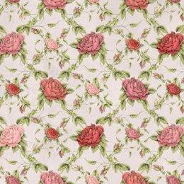 ผ้าอเมริกาลายดอก สำหรับ mat ผ้ามิร่า พื้นขาว ขนาด 45 x 55 ซม.