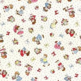 ผ้า cotton ญี่ปุ่นลายน้อง Daisy พื้นขาว ขนาด 1/4 หลา (45 x 55 ซม.)