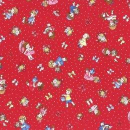 ผ้า cotton ญี่ปุ่นลายน้อง Daisy พื้นแดง ขนาด 1/4 หลา (45 x 55 ซม.)