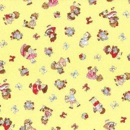 ผ้า cotton ญี่ปุ่นลายน้อง Daisy พื้นเหลือง ขนาด 1/4 หลา (45 x 55 ซม.)