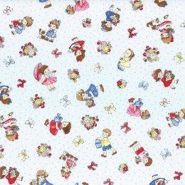 ผ้า cotton ญี่ปุ่นลายน้อง Daisy พื้นฟ้า ขนาด 1/4 หลา (45 x 55 ซม.)