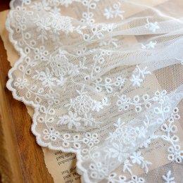 ผ้าลูกไม้แบบโปร่ง สีขาว ขนาด 21 cm. ราคาหลาละ