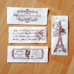 เทปผ้า Cotton ลาย Paris หน้ากว้าง 4 cm. ราคา/หลา