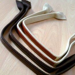สายกระเป๋า cotton เย็บหนังด้านบน ปลายกว้าง 3.8 cm.ยาว 58 cm.