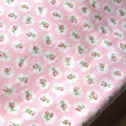 ผ้า cotton ไทย ลายดอกโทนชมพูอ่อนขนาด 1 ซม. ขนาด 1/4 เมตร (50*55 ซม.)