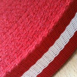 สายกระเป๋า cotton แดงคาดครีม กว้าง 3 cm. ราคาหลาละ (90 cm.)