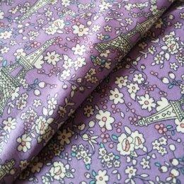 ผ้า cotton ไทย ลายปารีสโทนม่วง  ขนาด 1/4 เมตร (50*55 ซม.)