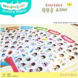สติกเกอร์ใส Happy life diary Sticker 6 in 1 ขนาด 10 x 20 cm.(PVC)