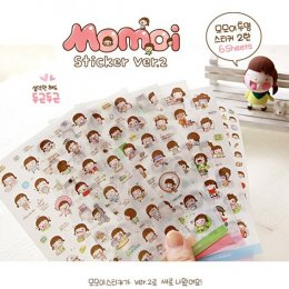 Momoi cute girl Sticker (Ver.2) 6 in 1 ขนาด 10*15 cm.(PVC)
