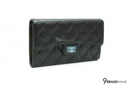 chanel bi fold wallet black caviar SHW