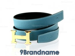 Hermes Belt 90 Leather Togo Blue With Black Gold Buckle - Authentic