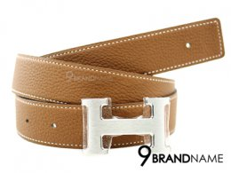 Hermes Belt 90 Calfskin Brown And Black H Buckle Silver - Authentic