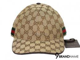 Original GG canvas baseball hat with web Beige/ebony original GG fabric  with green/red/green signature web and brown leather trim   -  Authentic Bag หมวกกุซซี่ ทรงเบสบอล ลายผ้าโลโก้ GG สีน้ำตาล ขอบด้านข้างเป็บแถบผ้า เขียวสลับแดง สวย เป็นสีนิยมของกุซซี่ ใ