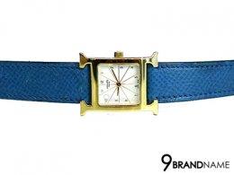 Hermes H Hour White Dial Blue Leather Ladies Watch  - Used Authentic Watch นาฬิกา แอร์เมส เรือน H สีทอง หน้าปัดขาว สายหนังแอร์เมสแท้ สีน้ำเงินสวย นาฬิรุ่นยอดฮิต ยอดนิยม ใส่แล้วสวย หรู